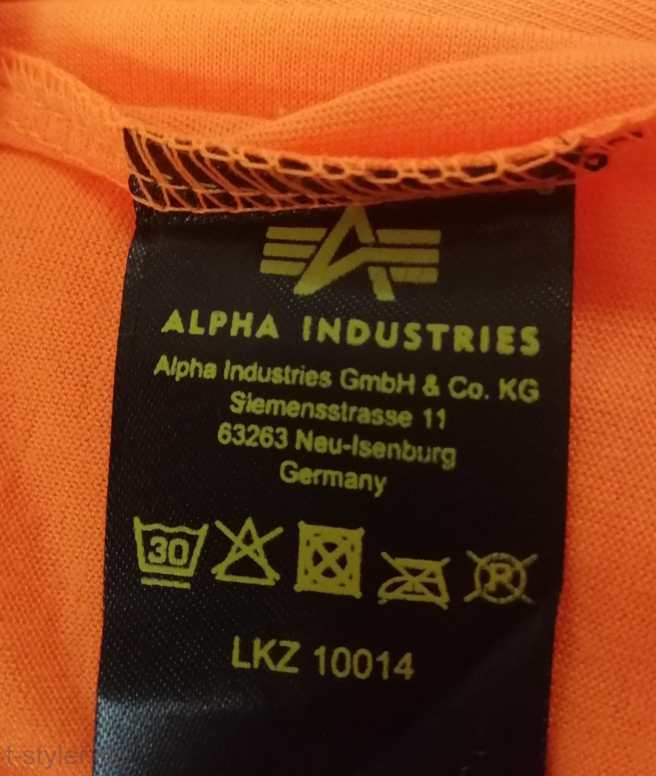 Alpha industries Basic T Small Logo - neon/orange